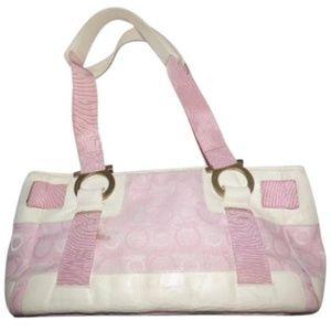 Vintage Ferragamo White Leather & Pink Fabric